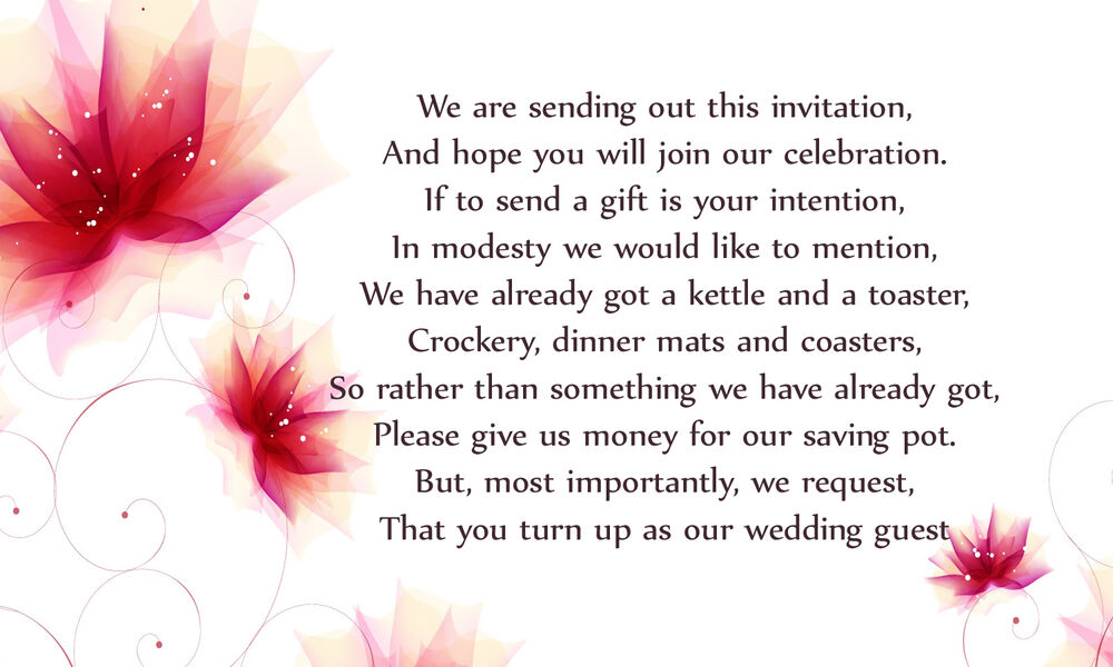 50 Wedding Poem Cards Asking For Money Ebay
