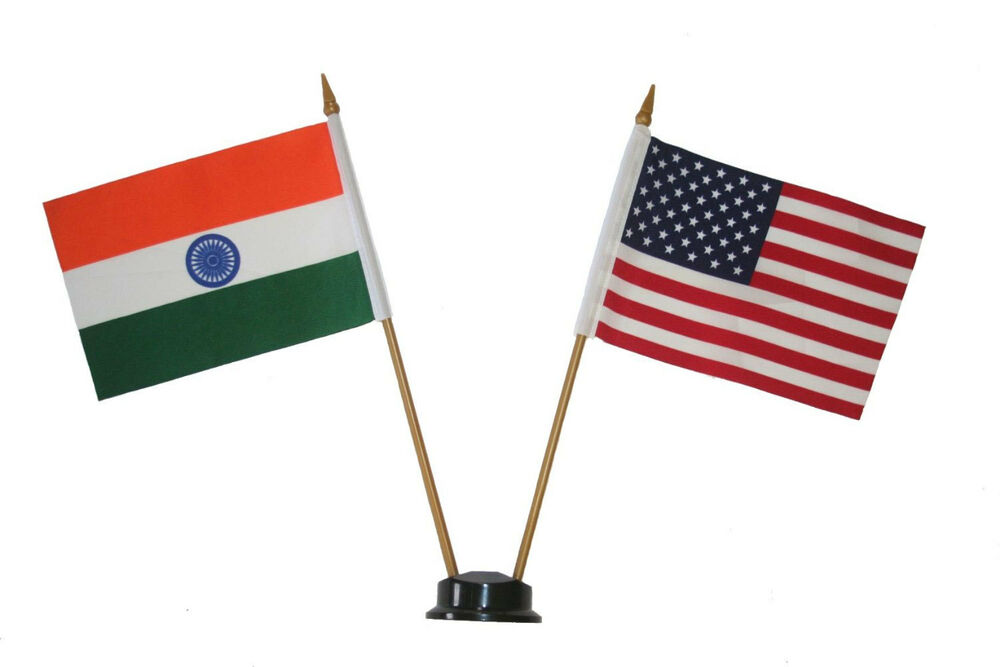 """India Flag Black: USA & INDIA 4"""" X 6"""" DOUBLE STICK FLAG WITH BLACK STAND ON"""