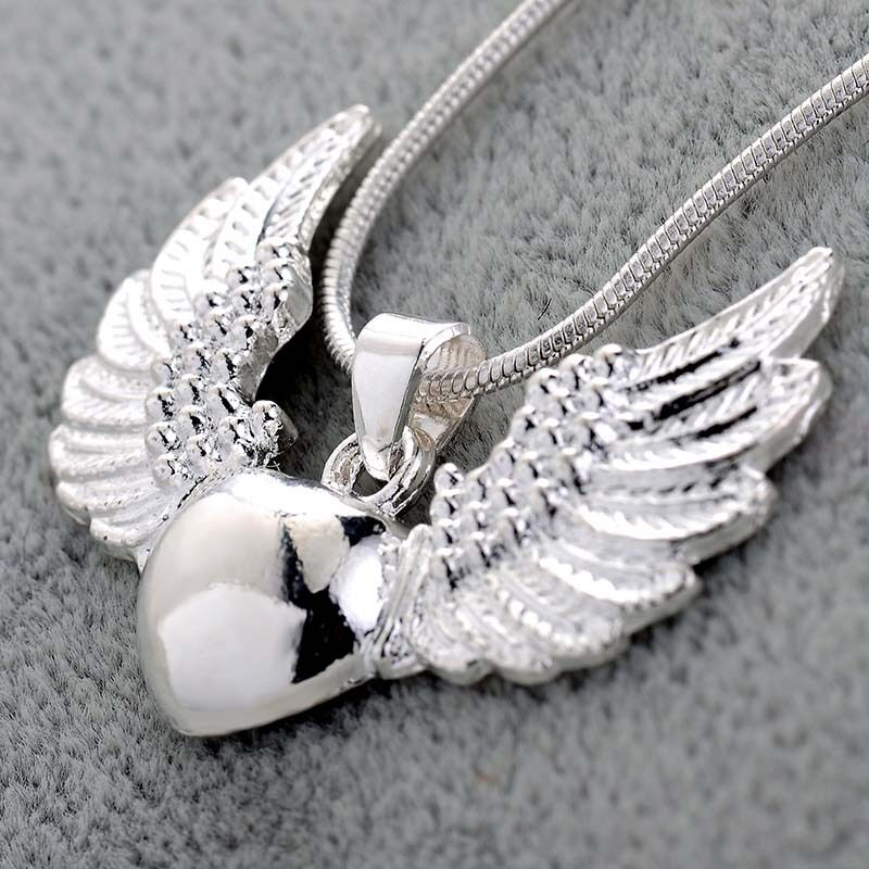 Women Fashion 925 Silver Heart Angle Wing Pendant Necklace ...