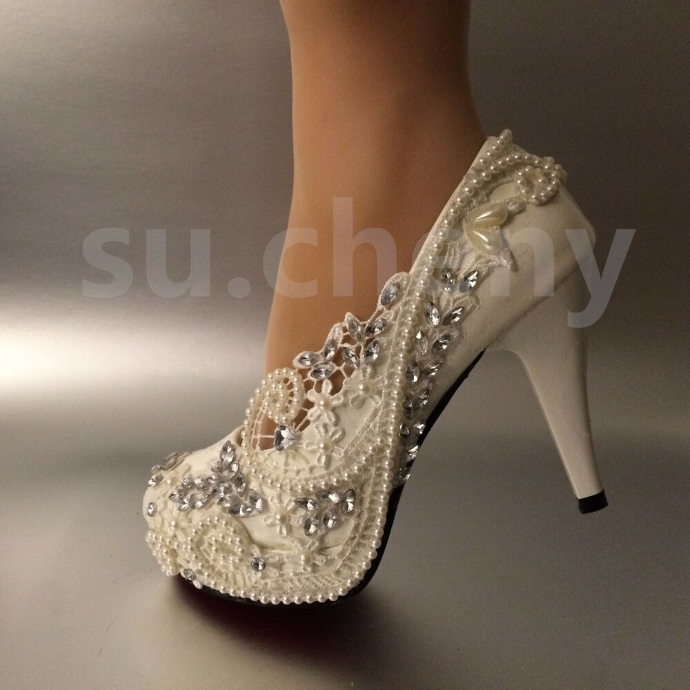 wedding shoes ivory 3 4 quot heel white ivory lace pearls wedding shoes 1123