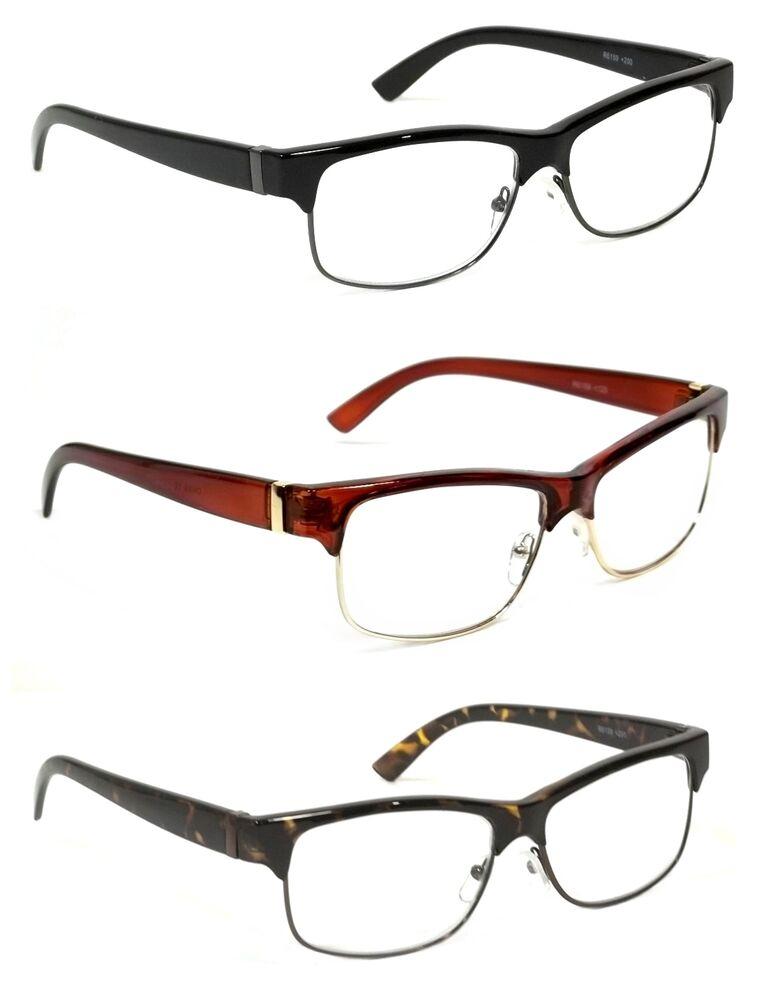 Extra Large Frame Reading Glasses : RETRO CLUBMASTER READING GLASSES CLASSIC DEAN STYLE ...