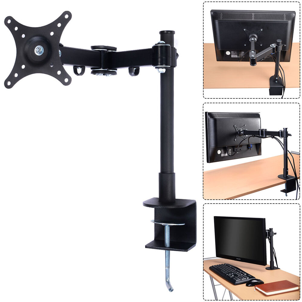 Single Arm Monitor Desk Table Mount Stand For 1 Lcd Fully
