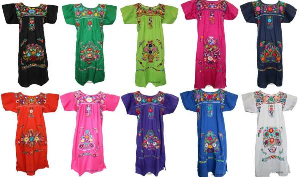 ANY COLOR Mexican FIESTA Dress Embroidered FLORAL Puebla Peasant S M L XL 2X 3X