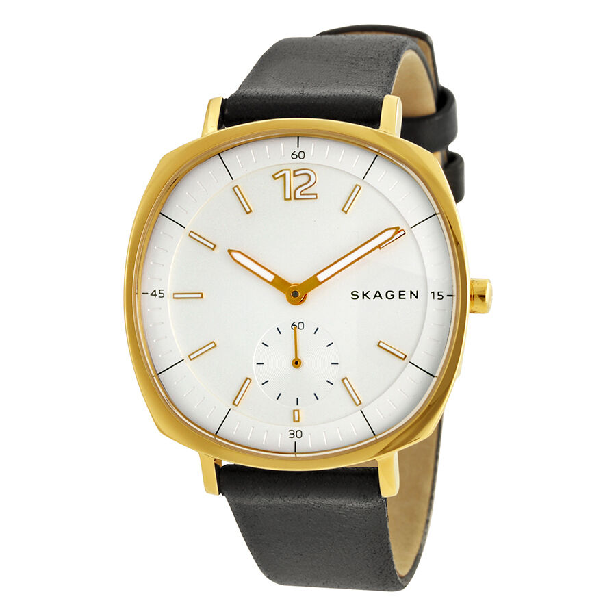 skagen rungsted silver dial black leather ladies watch. Black Bedroom Furniture Sets. Home Design Ideas