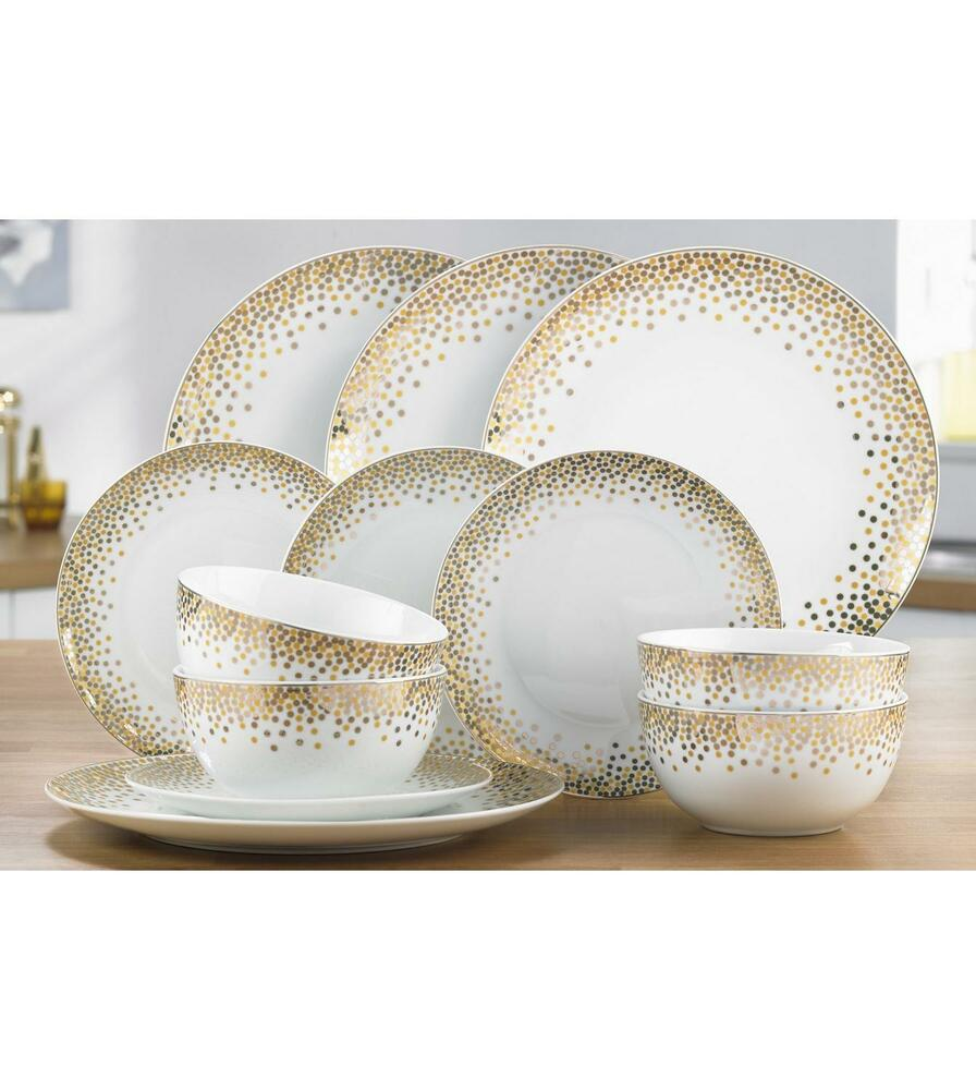 12 PIECE WHITE GOLD PORCELAIN ROUND DINNER SET SERVICE CHRISTMAS DINING | eBay  sc 1 st  eBay & 12 PIECE WHITE GOLD PORCELAIN ROUND DINNER SET SERVICE CHRISTMAS ...