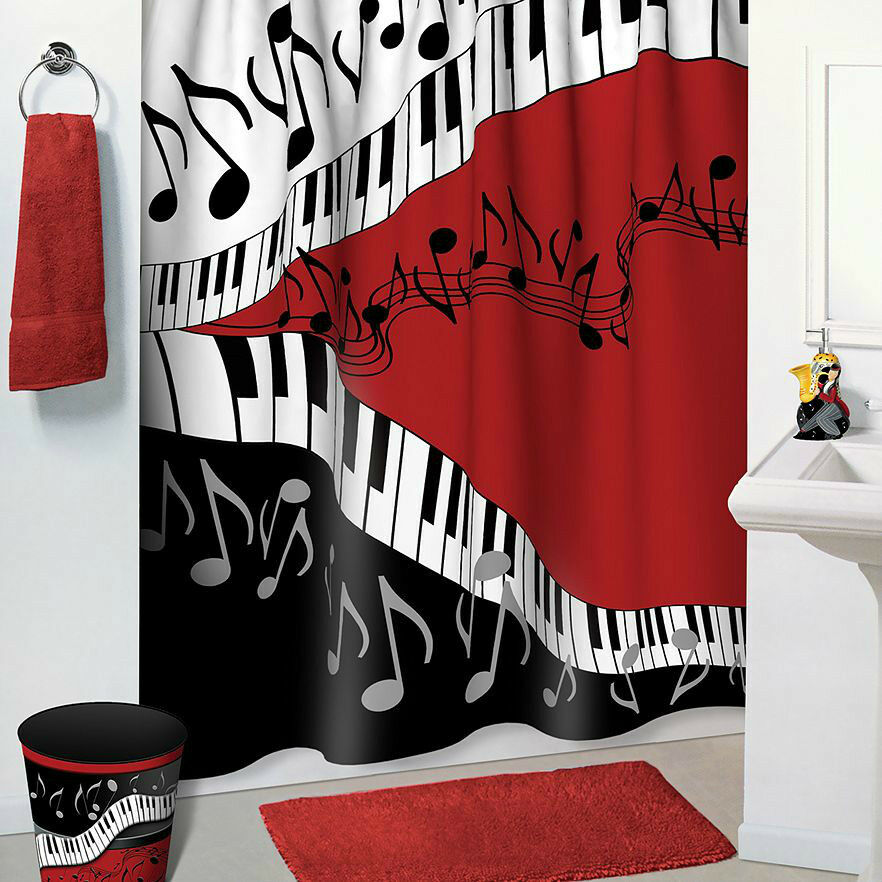Jazzy music red black white bathroom accessories 5 pc for Red and black bathroom accessories sets