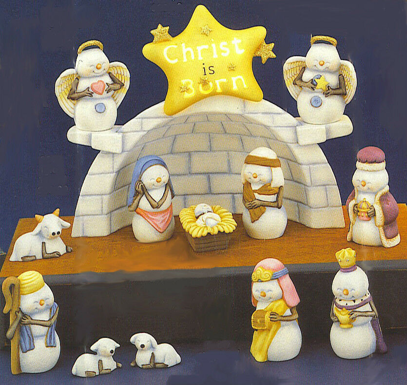 Ceramic Bisque Ready To Paint Snow Nativity Set Light For