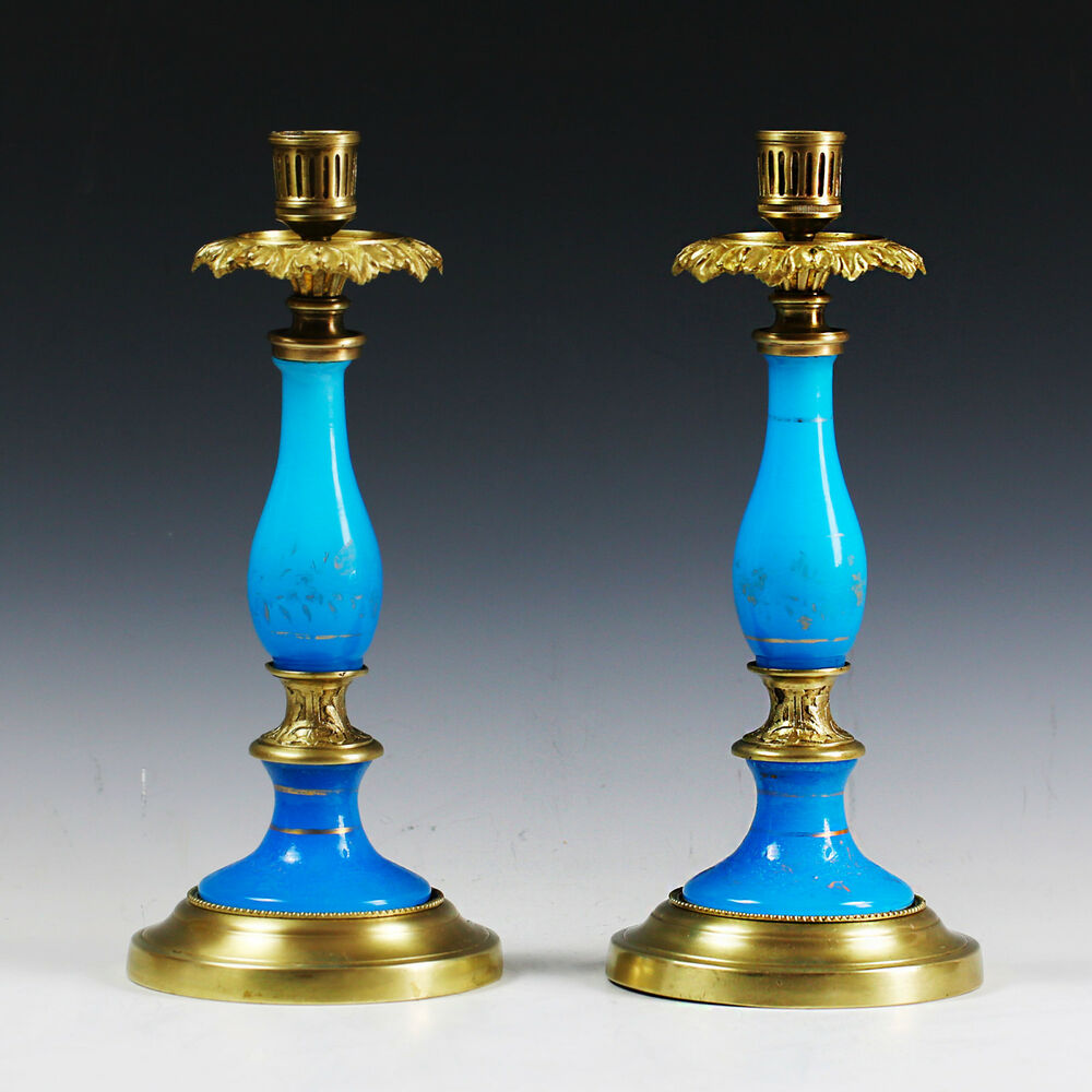 Metal Pillar Candle Holders : Pair of antique french blue opaline glass and bronze