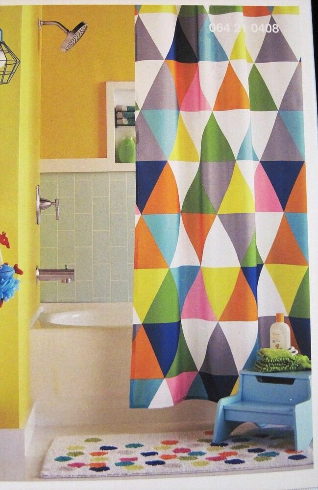 Circo geometric triangles shower curtain fabric kids for Fabrics for children s curtains
