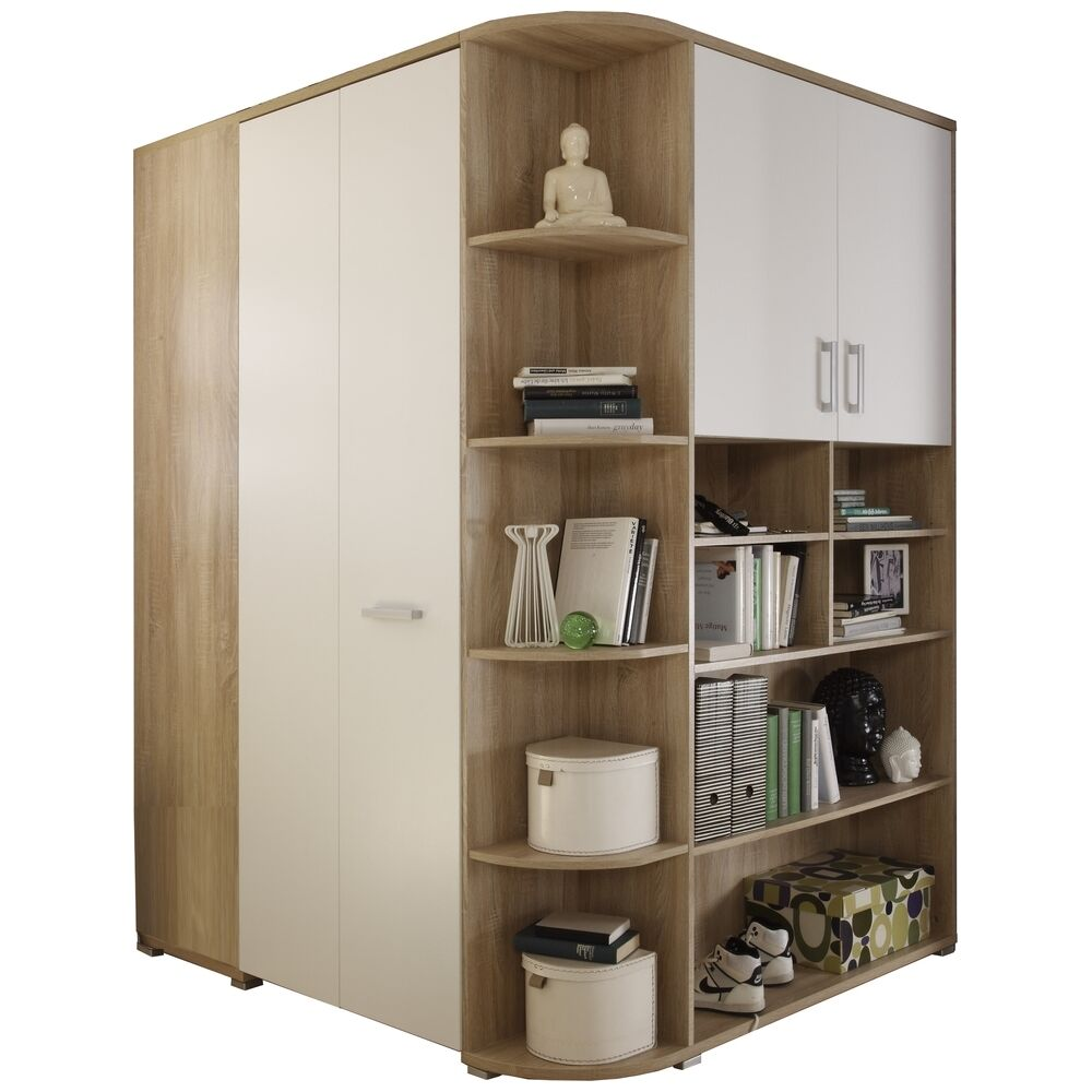 begehbarer kleiderschrank corner eiche sonoma wei ebay. Black Bedroom Furniture Sets. Home Design Ideas