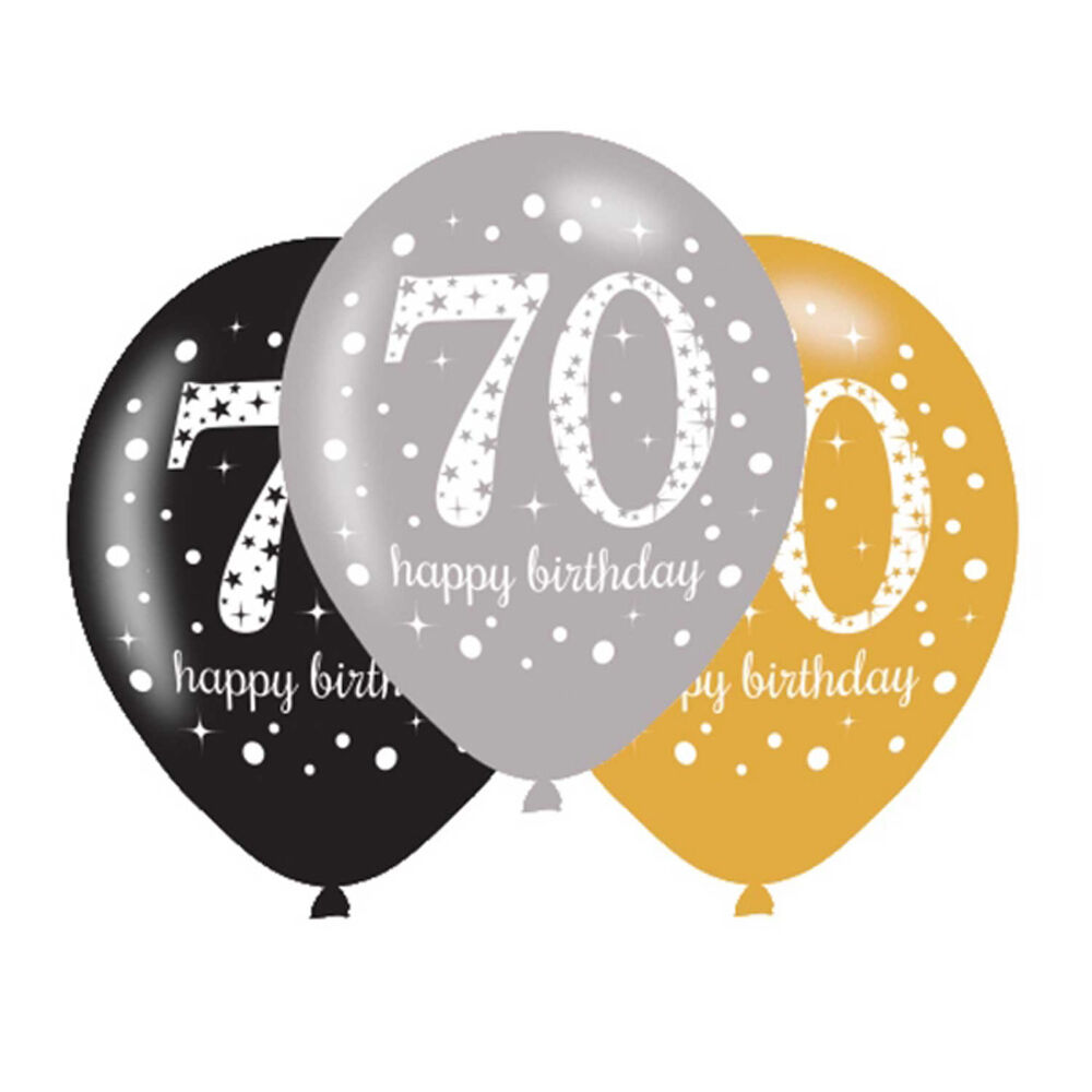 6 x 70th birthday balloons black silver gold party for Decoration 70th birthday