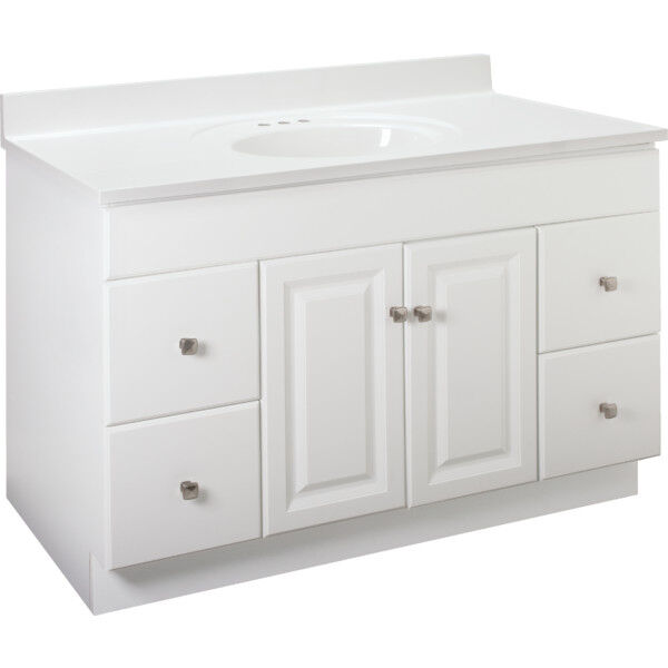 Seasons 48w x 31 1 2h x 21 d white thermofoil door drawer - Unfinished shaker bathroom vanity ...