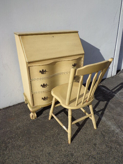 French Provincial Queen Anne Secretary Writing Desk Chair
