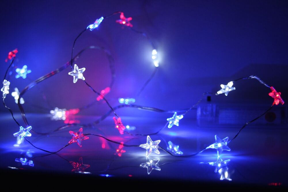 Fourth July Battery Operated String Fairy Lights Red White Blue Ebay