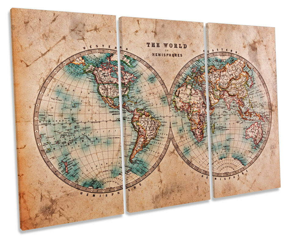 Old antique world map treble canvas wall art box framed for World map wall print