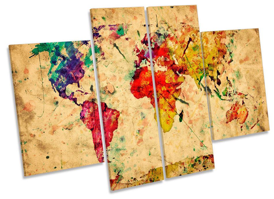 Map Of The World Watercolours Grunge CANVAS WALL ART MULTI