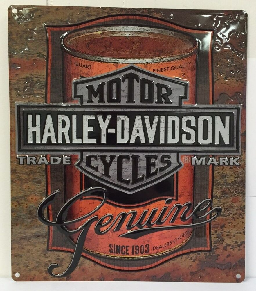 Ande Rooney HARLEY DAVIDSON OIL CAN LABEL Tin HD