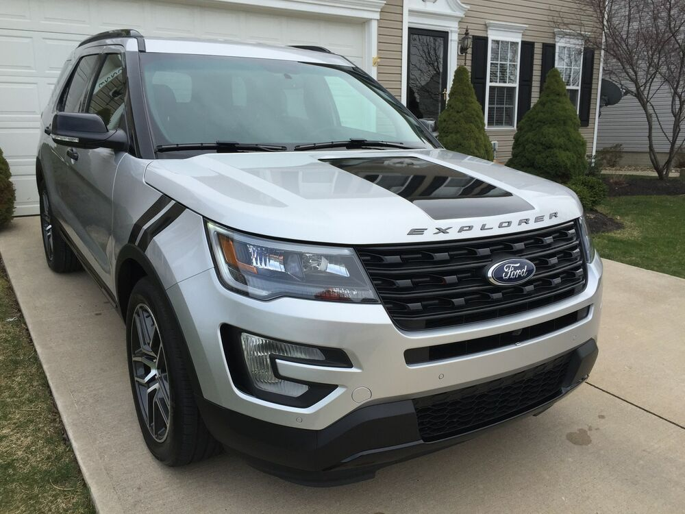 ford explorer 2016 all models wrap hood blackout decal cover graphic - Ford Explorer Blacked Out