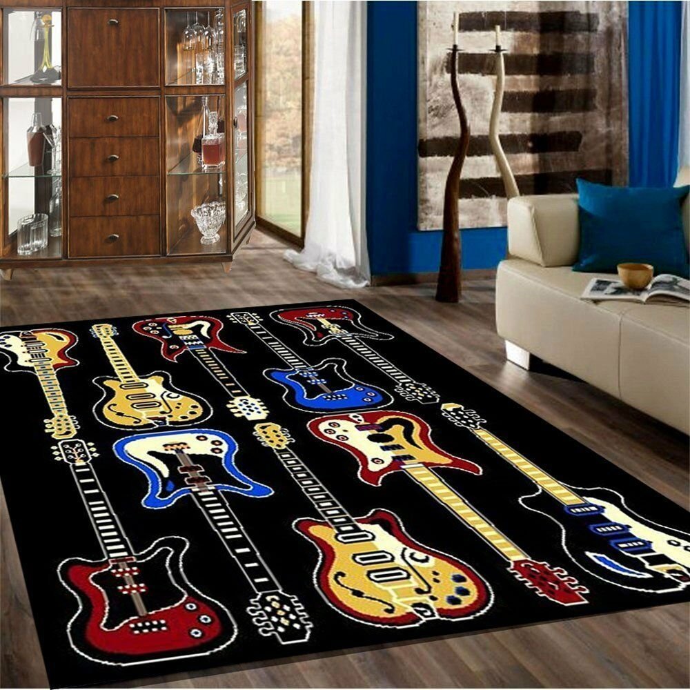 Kids children bedroom fun musical theme rugs contemporary carpet guitar 5 39 x 7 39 ebay - Amazing style rugs for kids rooms ...