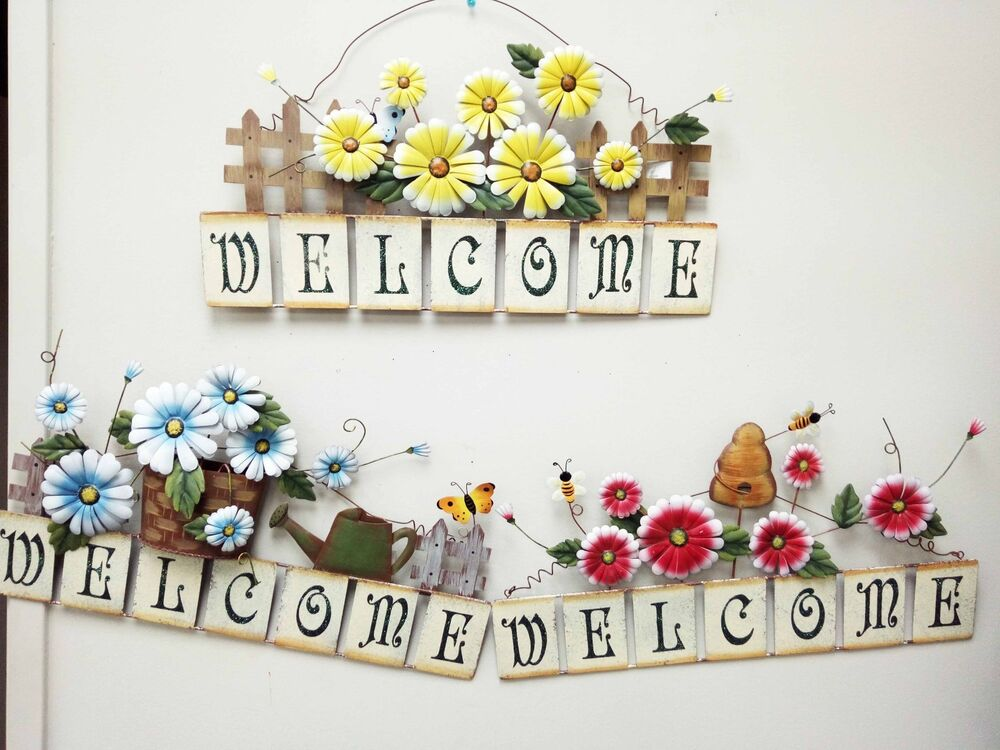 Metal spring flowers welcome sign garden wall decor ebay for Garden wall decorations