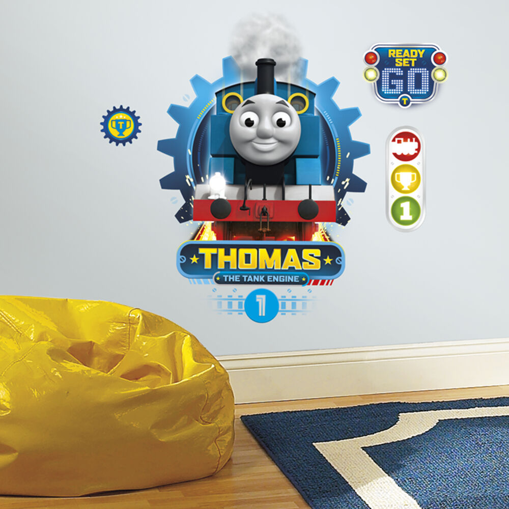 thomas the tank engine racing wall decals giant boys train. Black Bedroom Furniture Sets. Home Design Ideas