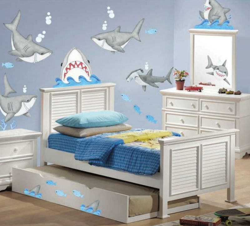 57 Sharks And Fish Wall Decals Kids Ocean Stickers Bedroom