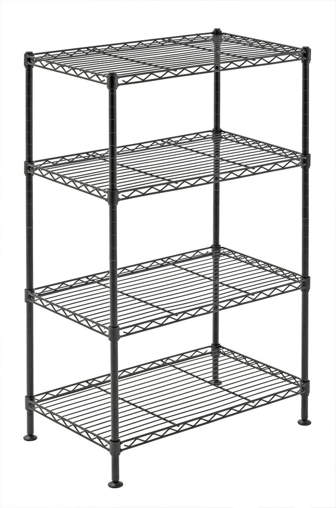 storage shelving unit wire shelving storage rack 4 tier shelf kitchen garage 26895