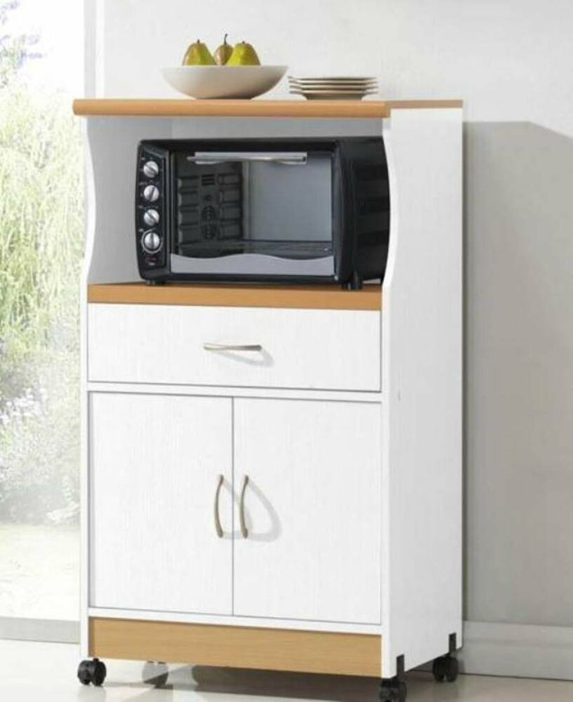 Kitchen Cabinets Microwave: Rolling Microwave Cart Pantry Cabinet White Stand Island