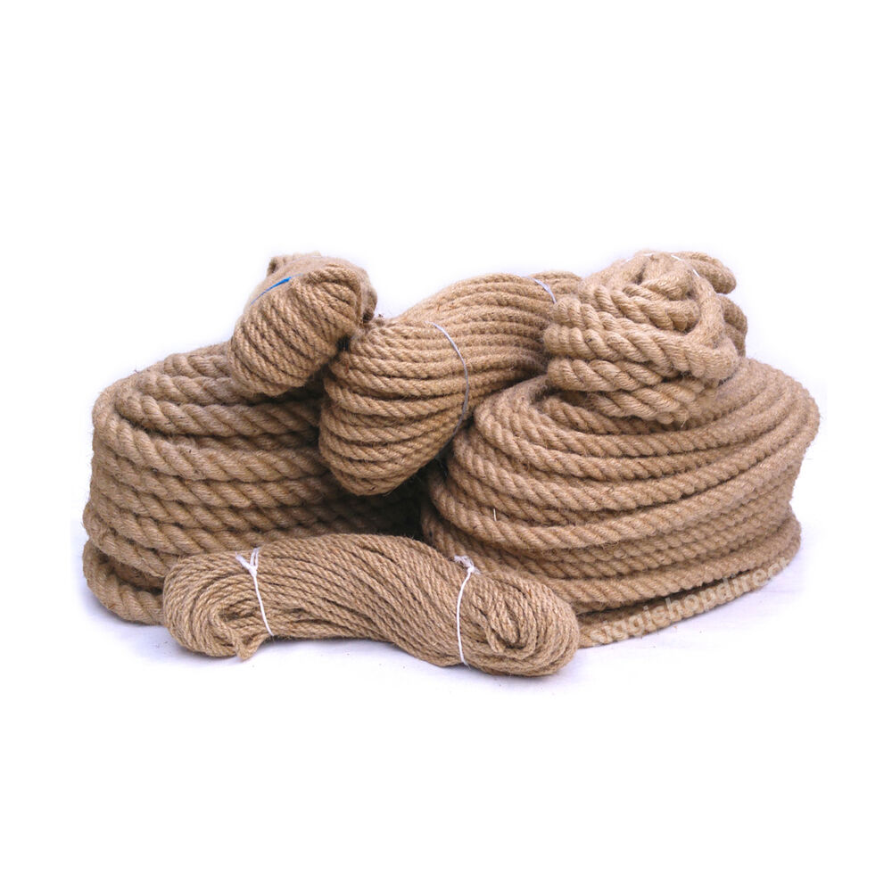 100 natural pure jute hessian rope cord twisted garden for Garden decking with rope