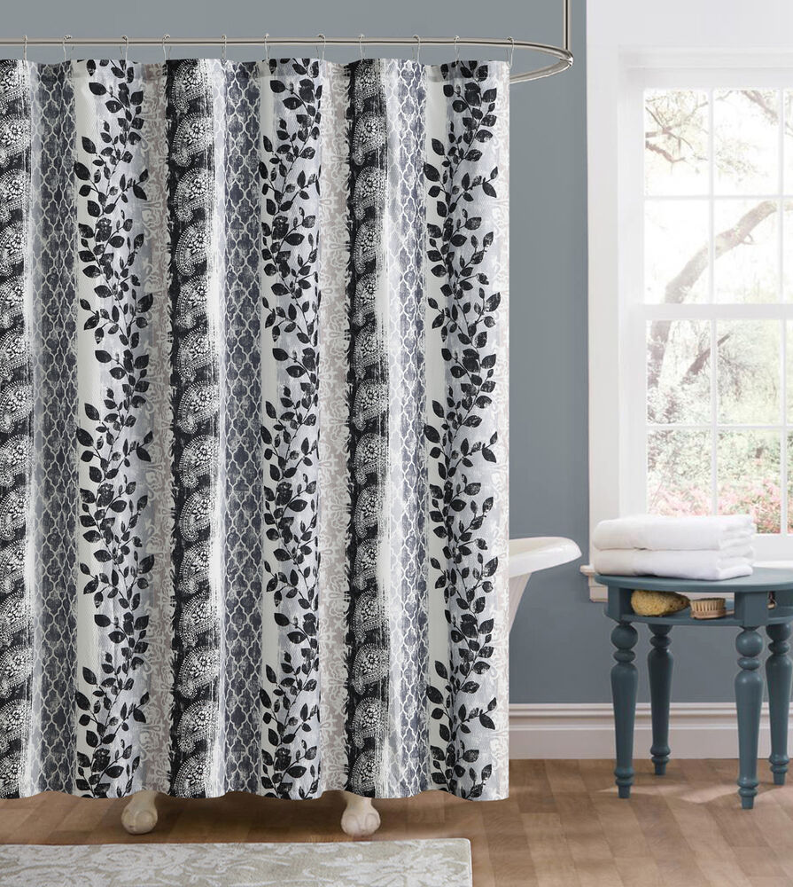 Amadora Gray Black White Leaves Floral Fabric Shower Curtain Victoria Classic
