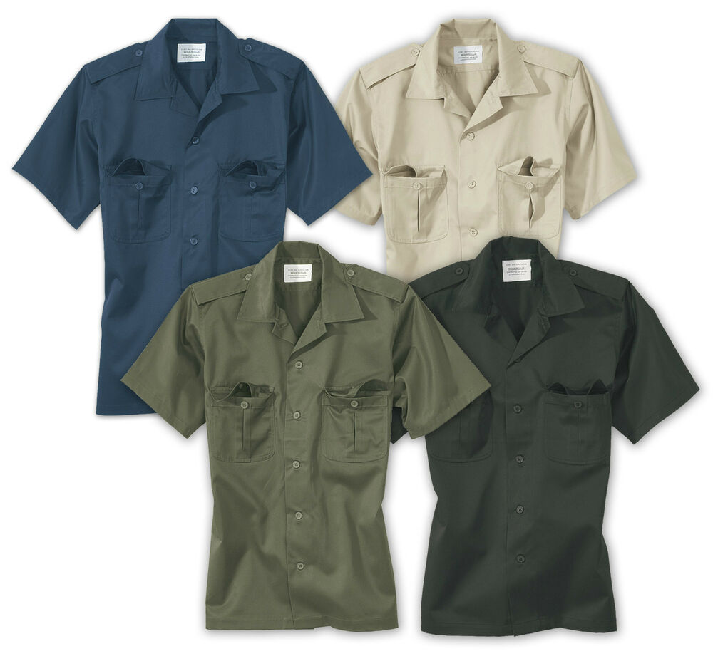 Surplus mens short sleeved army security work shirt for Mens military style long sleeve shirts