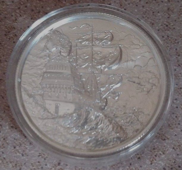 2 Oz 999 Silver Privateer Elemetal Ultra High Relief Ship