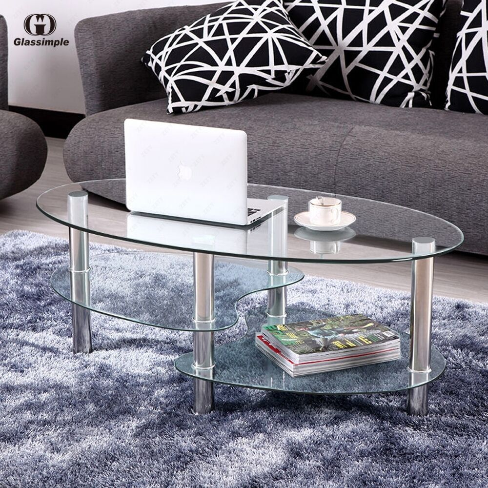 Clear Glass Oval Side Coffee Table Shelf Chrome Base Living Room Furniture Ebay