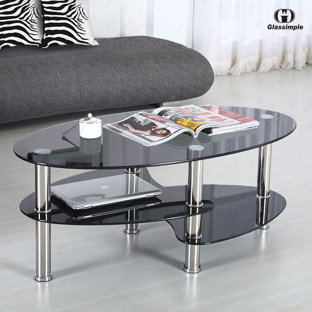 Black Glass Oval Side Coffee Table Shelf Chrome Base