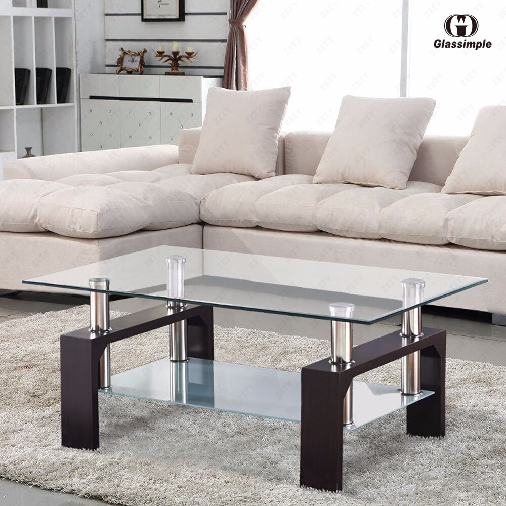 Glass Coffee Table For Sale On Ebay: Rectangular Glass Coffee Table Shelf Chrome Walnut Wood