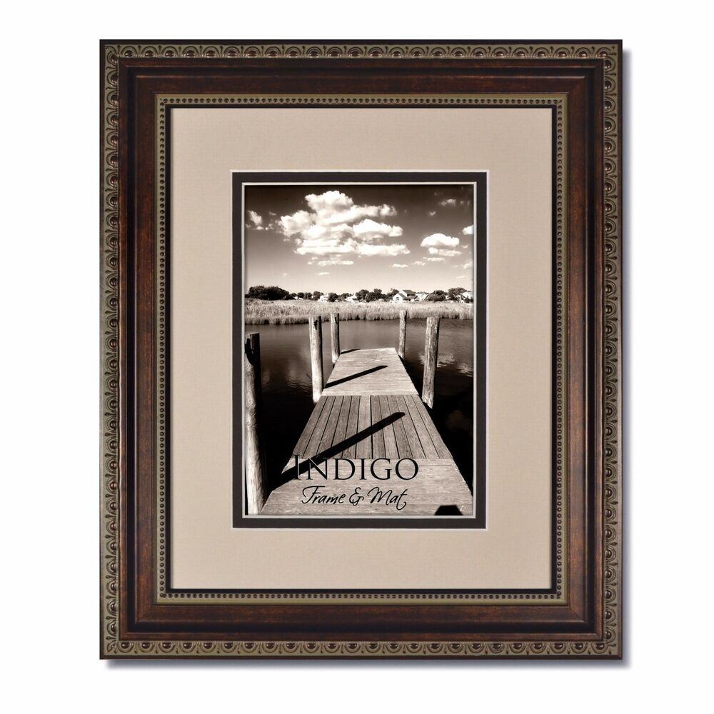 One 11x14 Ornate Bronze Picture Frame Glass And Oyster