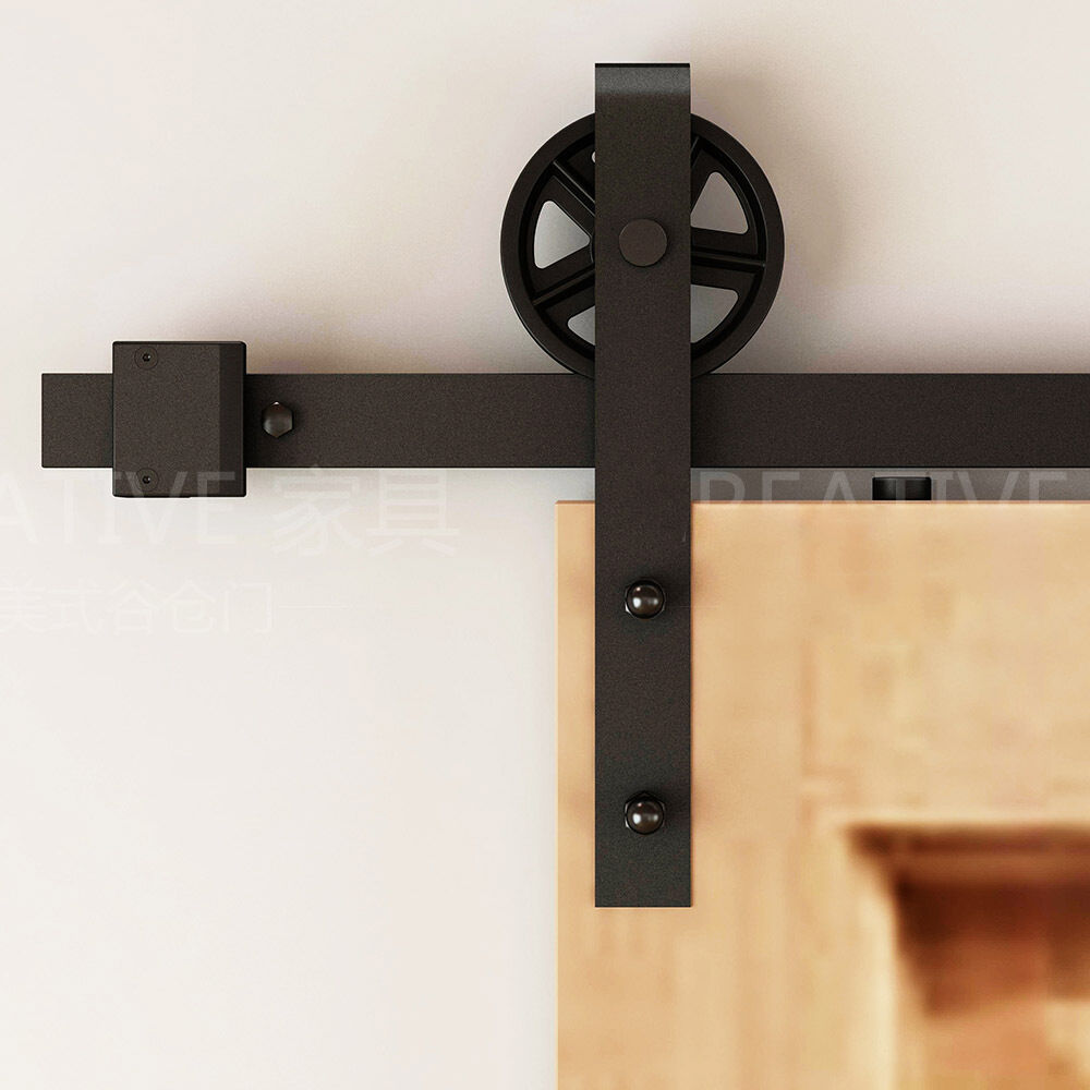 black big vintage strap industrial wheel sliding barn door hardware kit ebay. Black Bedroom Furniture Sets. Home Design Ideas