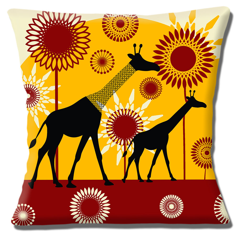 "African Tribal Lady 16/""x16/"" 40cm Cushion Cover Silhouette Yellow Orange Brown"