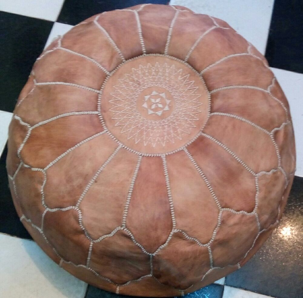 large moroccan genuine leather pouf tan pouf xxl hassock. Black Bedroom Furniture Sets. Home Design Ideas
