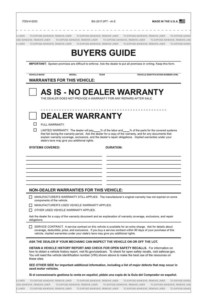 Used Car AS-IS FEDERAL BUYERS GUIDE no Warranty Forms (100pk) Tape ...