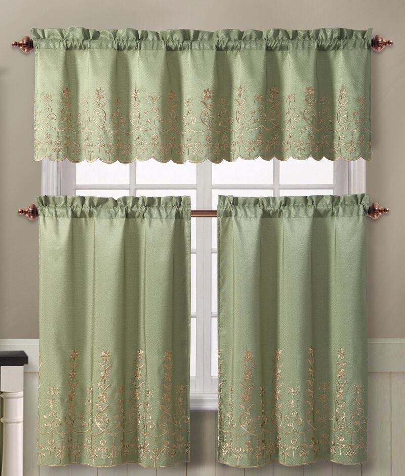 Sage Green Embroidered Floral 3 Pc Kitchen Tier Valance Curtain Set Aileen Ebay