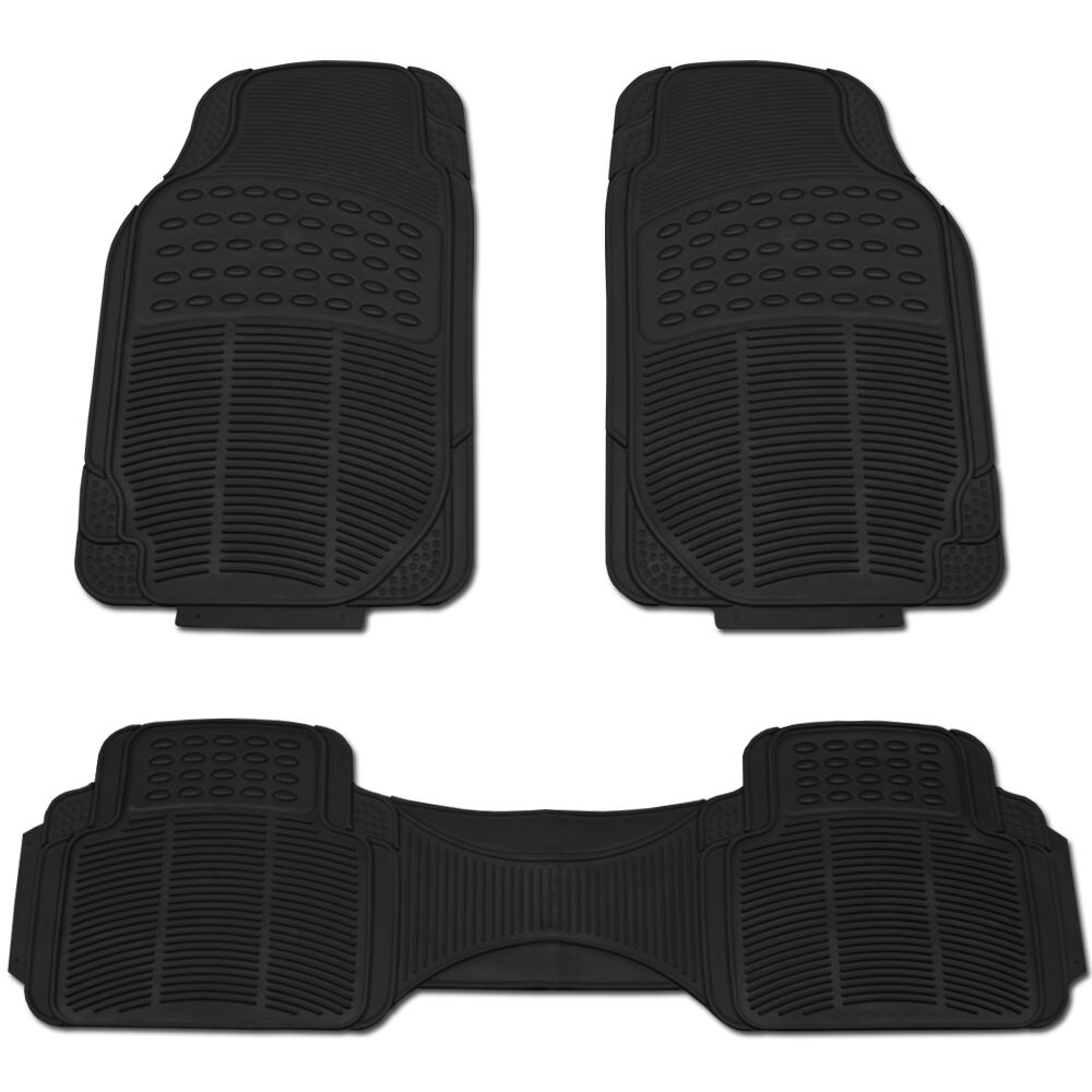 HEAVY DUTY ALL WEATHER BLACK MAT 3 PC Pads Liner CAR