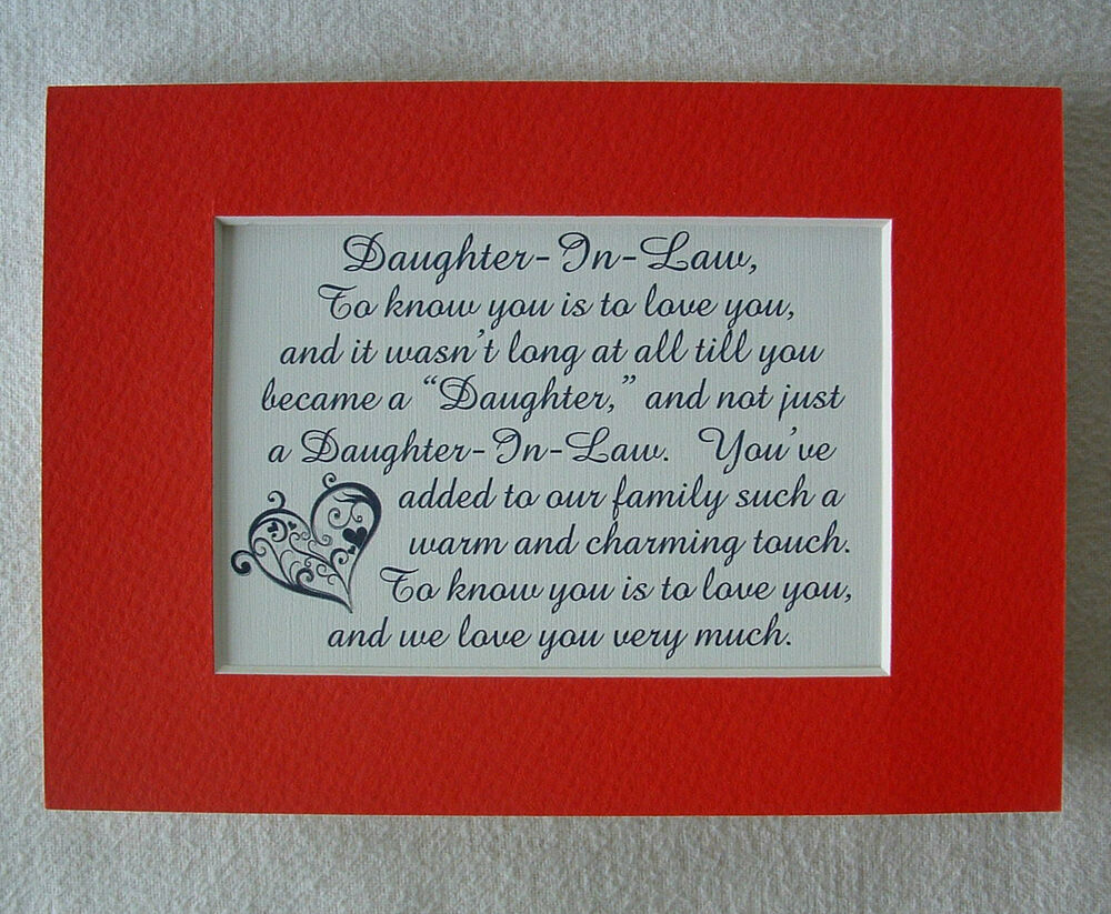Daughter In Law Personalized Poem: Charming DAUGHTER IN LAW Warm Touch LOVE YOU VERY MUCH
