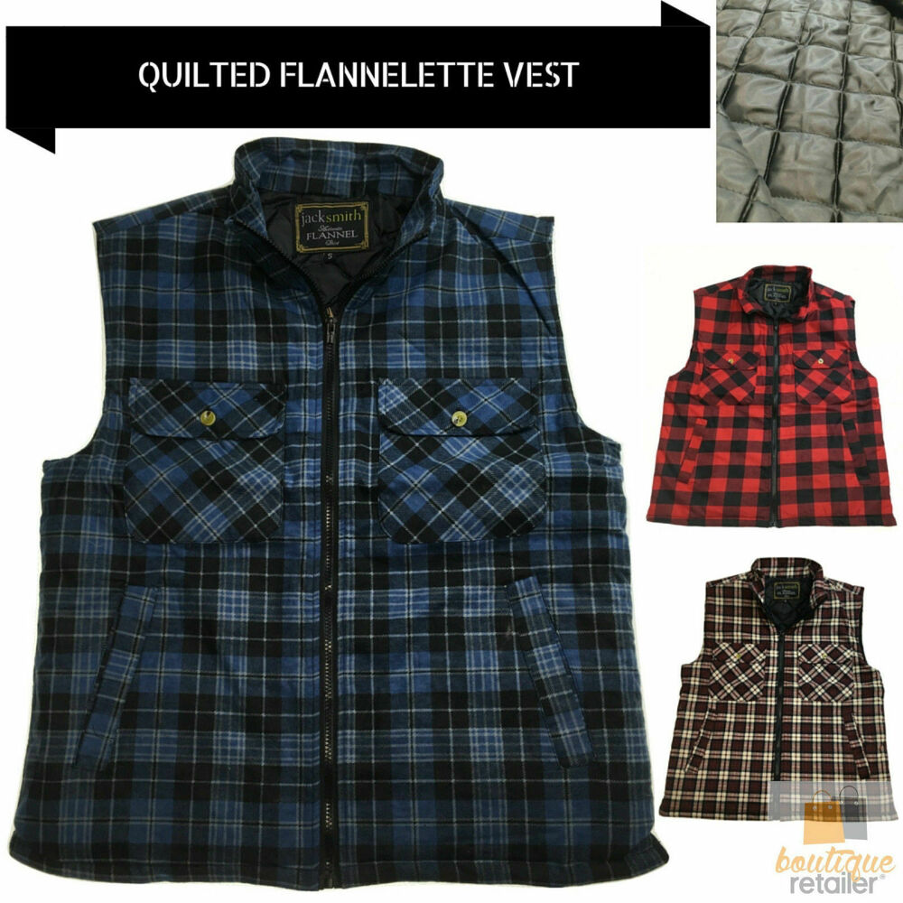 Mens quilted flannelette vest 100 cotton flannel padded for Flannel shirt and vest