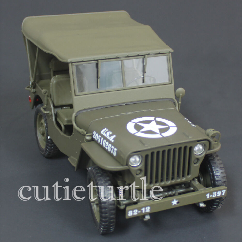 welly 18036 1 4 ton us willys army jeep with top up 1 18 diecast model car green ebay. Black Bedroom Furniture Sets. Home Design Ideas