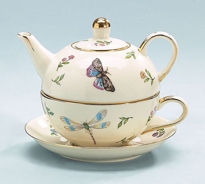 burton burton porcelain tea for one set stacked teapot cup morning meadows ebay. Black Bedroom Furniture Sets. Home Design Ideas