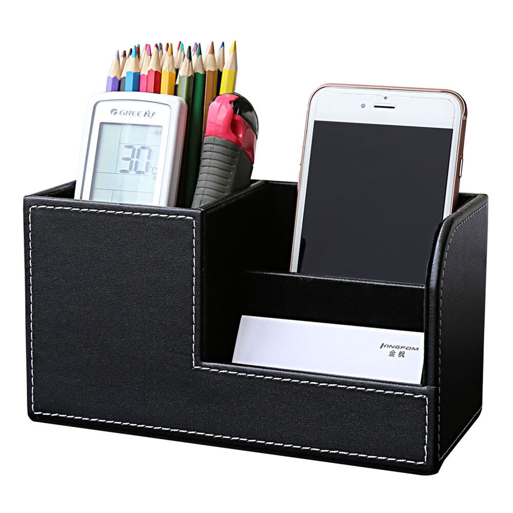 Home office desk pu leather stationery organizer pen - Desk stationery organizer ...