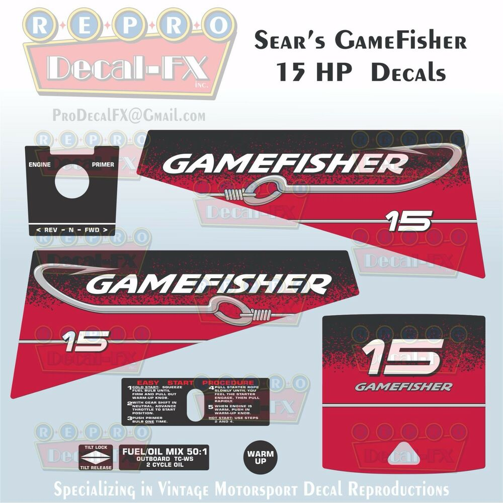 Sears Gamefisher 15hp Outboard Reproduction 8 Piece Marine