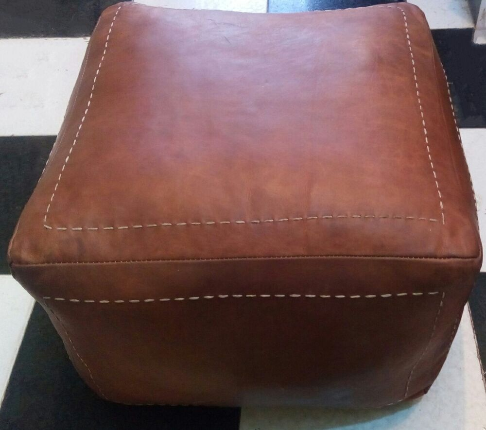 Moroccan Genuine Leather Pouf Brown Cube Shape Pouf