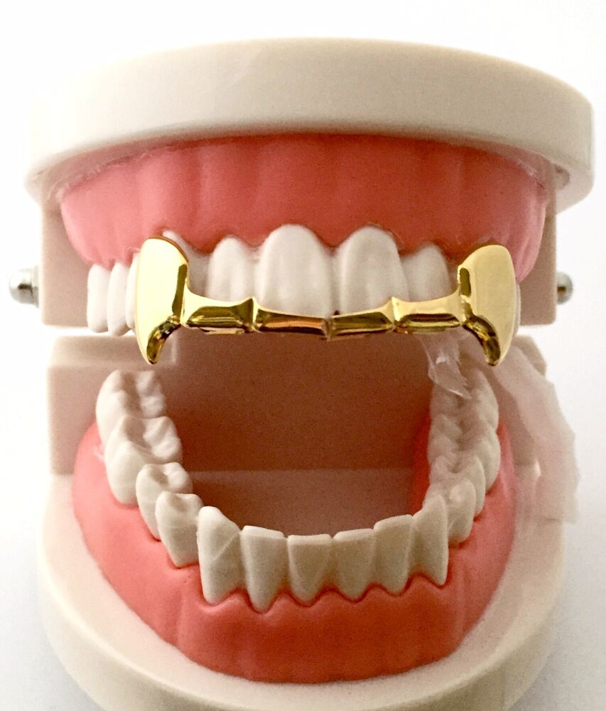 1000 Images About Gold Teeth On Pinterest: Hip Hop 14K Gold Plated Upper Top Fangs Mouth Teeth Grillz